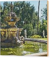Garden Fountain - Iconic Fountain At The Huntington Library And Botanical Ga Wood Print