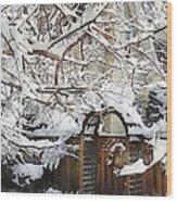 Garden Gate In Winter Wood Print