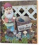 Garden Gnome - Square Wood Print