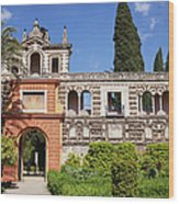 Garden In Alcazar Palace Of Seville Wood Print