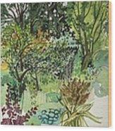 Garden In Llandielo, 1999 Watercolour On Paper Wood Print