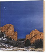 Garden Of The Gods Star Storm Wood Print