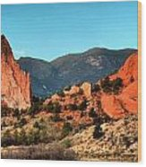 Garden Of The Gods Sunrise Panorama Wood Print