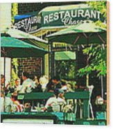 Garden Party Celebrations Under The Cool Green Umbrellas Of Restaurant Chase Cafe Art Scene Wood Print