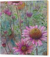 Garden Pink And Abstract Painting Wood Print