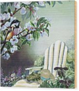 Chickadees In Blossom Tree Wood Print