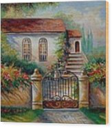 Garden Scene With Villa And Gate Wood Print