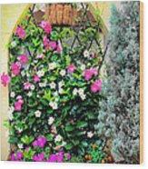 Garden Screen With Flowers Wood Print