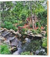 Garden Waterfall And Pond Wood Print