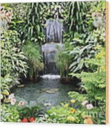 Garden Waterfall Wood Print