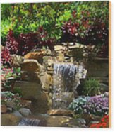 Garden Waterfalls Wood Print