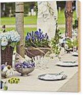 Garden Wedding Table Setting Wood Print
