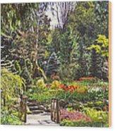 Garden With A Bridge Wood Print