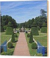 Gardenpath With Blue Gates - Burgundy Wood Print