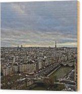 Gargoyle And The Eiffel Tower Wood Print