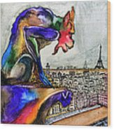 Gargoyle Of Color Wood Print