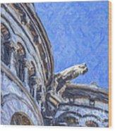Gargoyle On Sacre Coeur Wood Print