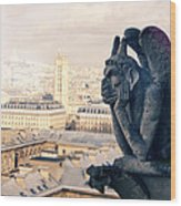 Gargoyle Stryga On The Notre-dame Cathedral In Paris. France. Wood Print