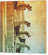 Gargoyles With Textures And Color Wood Print