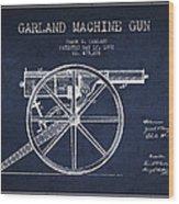 Garland Machine Gun Patent Drawing From 1892 - Navy Blue Wood Print