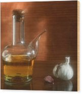 Garlic And Olive Oil. Wood Print