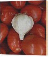 Garlic And Tomatoes Wood Print