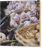 Garlic At The Market Wood Print by Heather Applegate