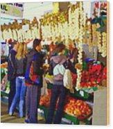Garlic Festival Farmers Market Food Vendors Onions Garlic Farm Fresh Chef Art Carole Spandau Wood Print