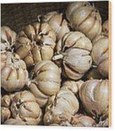 Garlic In A Basket. Wood Print