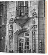 Garrison Hall Window Ut Bw Wood Print