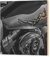Gas Tank Pin Up Girl Wood Print