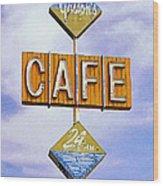Gaston's Cafe Wood Print by Ron Regalado