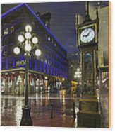 Gastown Steam Clock On A Rainy Night Wood Print