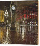 Gastown Steam Clock On A Rainy Night Vertical Wood Print