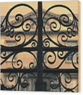 Gate In Front Of Mansion Wood Print