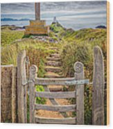 Gate To Holy Island  Wood Print by Adrian Evans