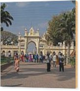 Gate To Maharaja's Palace India Mysore Wood Print