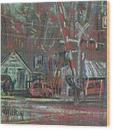 Gated Crossing Wood Print