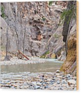 Gateway To The Zion Narrows Wood Print