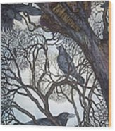 Gathering A Murder Of Crows I Wood Print by Helen Klebesadel