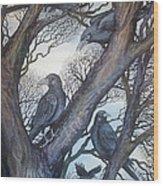 Gathering A Murder Of Crows II Wood Print by Helen Klebesadel