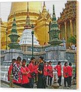 Gathering Near Pagodas Of Grand Palace Of Thailand In Bangkok Wood Print