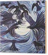 Gathering Of The Ravens Wood Print