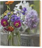 Gathering Wildflowers Wood Print