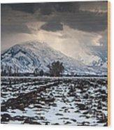 Gathering Winter Storm - Utah Valley Wood Print