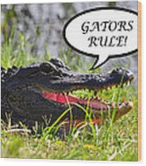 Gators Rule Greeting Card Wood Print by Al Powell Photography USA