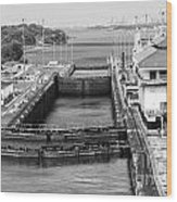 Gatun Locks Panama Monochrome Wood Print