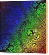 Gaudy Floral Fractal Wood Print