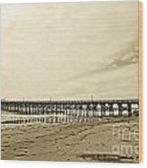 Gaviota Pier In Morning Sepia Tone Wood Print