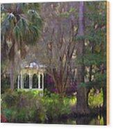 Gazebo At Magnolia Gardens Wood Print